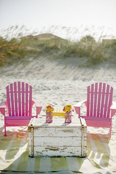 Lovely pink adirondack chairs on the beach! Pink Summer, Summer Of Love, Summer Fun, Summer Time, Summer Breeze, Summer Colors, Happy Summer, Summer Picnic, Happy Weekend