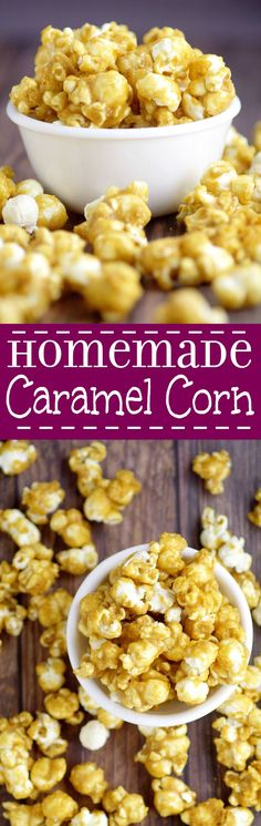 - Oven Baked Caramel Corn Easy Homemade Oven Baked Caramel Corn Recipe – a delicious, sweet, and crunchy snack. Great for kids or even for a party! This would also be an amazing gift idea. Sooo much better than the store-bought stuff! Yummy Snacks, Delicious Desserts, Snack Recipes, Dessert Recipes, Cooking Recipes, Yummy Food, Popcorn Recipes, Carmel Popcorn Recipe Easy, Popcorn Tins