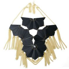 Black Leather Breastplate Necklace by Lizzie