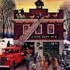 Marmont Hill - Christmas at the Fire Station by Stevan Dohanos Painting Print on Canvas | Overstock.com Shopping - The Best Deals on Gallery Wrapped Canvas