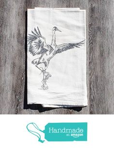 Gray Crane Cotton Flour Sack Kitchen Tea Towel from Heaps Handworks http://www.amazon.com/dp/B016WFBWCQ/ref=hnd_sw_r_pi_dp_XYJpwb09PYPDE #handmadeatamazon