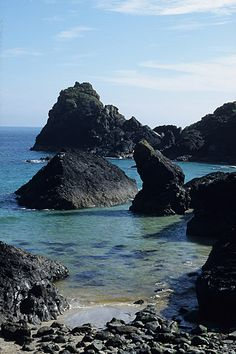 Rock stacks fill the sea at Kynance Cove near Lizard Point in South Cornwall.