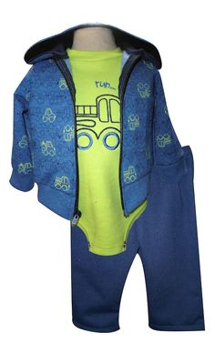 Chamarra con capucha y pretina, multiprenda bordada y pantalón de felpa. Tallas 3, 6, 12  y 18 meses.
