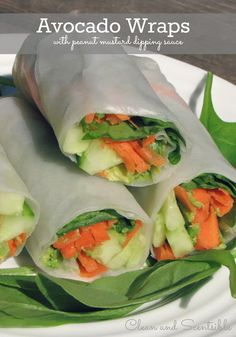 Clean & Scentsible: Avocado Wraps {with peanut mustard dipping sauce}