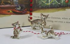 "Vintage ""Cat"" Miniature ""Tabby"" ""Family"" ""Bone China"" Mother Cat & Kittens Collectible ""Fairy Garden"" Miniatures Art Decor Gift"