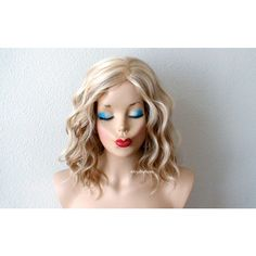 Short Wig Ombre Wig Blonde Wig Blonde Lt Brown Beach Wave Hairstyle... ($130) ❤ liked on Polyvore featuring beauty products, haircare, hair styling tools, bath & beauty, grey, hair care and wigs