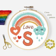 Boho Rainbow Modern Cross Stitch Pattern, Baby Monogram Counted Chart, S Letter Alphabet Xstitch Embroidery, Nursery, Instant Download PDF Monogram Cross Stitch, Cross Stitch Alphabet, Cross Stitch Kits, Cross Stitch Charts, Cross Stitch Embroidery, Modern Cross Stitch Patterns, Cross Stitch Designs, Hand Embroidery Projects, Embroidery Patterns