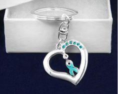 Teal Cancer Ribbon Key Chains