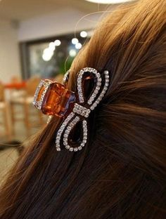 Smile rhinestone crystal bow gripper hairpin Small >>> Click on the image for additional details.