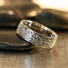 Trinity Celtic Knot Wedding Band 14k White Gold Unique Mens Wedding Ring Solid Gold Ring (Other Metals & Ring Engraving Available)ryan wedding band