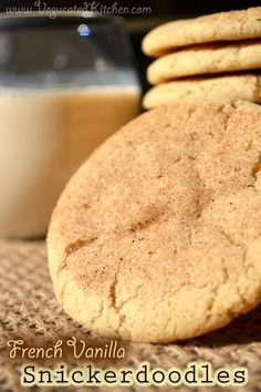 French Vanilla Snickerdoodles! Dairy free Egg free. Sweet, crispy, chewy and spicy...Can you smell them baking, yet? #vegan #vegetarian