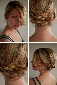 Romantic low braided upstyle.