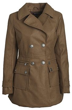 Urban Junior Women Classic Wool Look Padded Winter Dress Peacoat Jacket Pea Coat - Caramel (2X). NEW INNOVATION: Water resistant and wind proof wool look material. Warm quilted padded lining for added warmth. Beautiful slenderizing fit. Multiple pockets. Lapel collar. Product care: Machine wash cold.