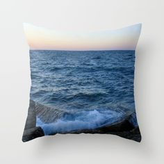 Throw Pillow made from 100% spun polyester poplin fabric, a stylish statement that will liven up any room. Individually cut and sewn by hand, each pillow features a double-sided print and is finished with a concealed zipper for ease of care.  Sold with or without faux down pillow insert.beach, water, splash, ocean, sea, blue, rocks, photo, landscape, photography, digital, photograph, nature, natural, wall art, art print, tapestry , pillow