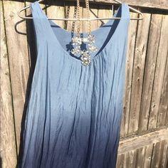 Ombré silk dress! Italian! Softest shift dress you've ever touched. Gorgeous ombré blue. Has slip underneath--not sheer. Prontomoda giusy Dresses Midi