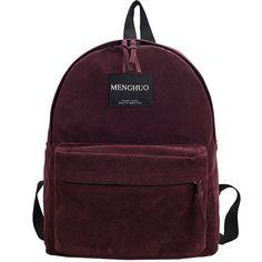2016 New Brand Women Backpack Preppy Suede Backpacks Female Girls School Bags Vintage Bags Travel Backpack Burgundy Gray Black