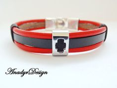 Black Leather Bracelet, Mens Jewelry, Men's Classic Jewelry, Stylish bracelet, Gift for Him, Red leather bracelet