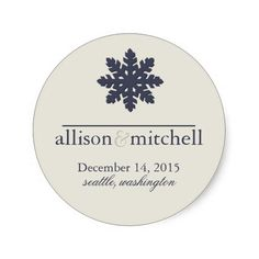 Modern Winter Wedding Save the date Stickers