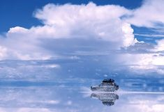 Salt flat in Salar de Uyuni, Bolivia. During the rainy season, the water turns it into the world's largest mirror.