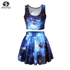 New Arrival Galaxy Space Print Set Women Summer Set Skirt And Sleeveless Tank Top #Affiliate