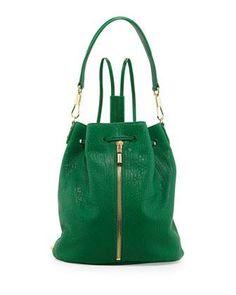 Cynnie Leather Drawstring Backpack, Leaf Green #poachit