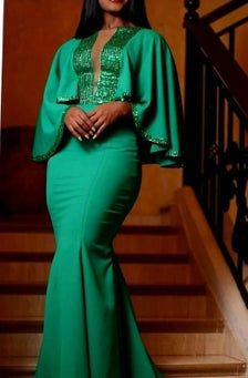 Green mermaid dress with sequin / bridesmaids dress / bridal shower dress / wedding reception dress / Wedding dresses / Bridal dress / prom African Prom Dresses, African Wedding Dress, Latest African Fashion Dresses, African Print Fashion, African Dress, Dress Wedding, Wedding Reception, Sequin Bridesmaid Dresses, Dress Prom
