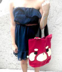 Red Panda School Bag  Cute Tote Bag  Kawaii by HappyCosmos on Etsy, $21.25
