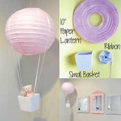 DIY HOT AIR BALLOON...what a cute idea for your little ones bedroom! Hangs from a fishing line so it really looks like it's flying...so adorable!