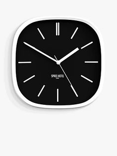Space Hotel Moontick Analogue Wall Clock, 29.5cm, Black/White at John Lewis & Partners Hallway Colours, Martin Johnson, Shell Station, John Lewis Shops, Black And White Design, Black White, Three Dimensional, Markers, Monochrome