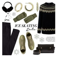 """""""Skate Date: Ice Skating Outfit"""" by littlehjewelry ❤ liked on Polyvore featuring RED Valentino, Converse, H&M, BP., Surell, George, contestentry, pearljewelry, iceskatingoutfit and littlehjewelry"""
