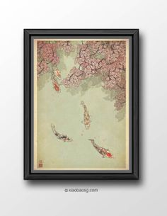 """P021- Koi-ful day  Originally created for Chinese New Year E-card. Fishes for Asian represent """"Abundance year after year."""" *Frame not included*  Size: 21 x 29.7cm (A4) 250GSM Texture paper  Each print is signed on the back and only requested on the front.  Print will be ship..."""