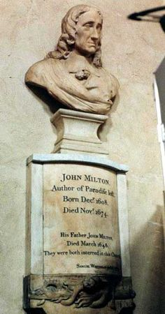 John Milton   Birth:  Dec. 9, 1608   Death:  Nov. 8, 1674     Burial:  St Giles Cripplegate Churchyard   London Greater London, England