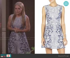 Jennifer's blue and white printed dress on Days of our Lives.  Outfit Details: http://wornontv.net/49753/ #DaysofourLives