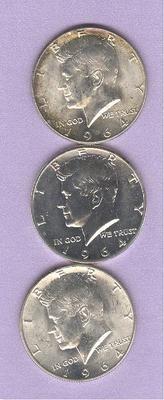 #Pinterest #eBay #Auction 1964 Kennedy Half Dollars Silver Lot of 3 Coins 1964, 1964 Proof & 1964D JFK John F. Kennedy