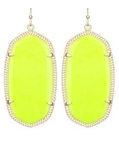 Danielle Earrings In Neon Yellow Kendra Scott Jewelry Cute Accessories