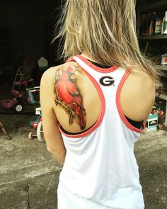 #red #Cardinal #shoulder #tattoo    @mirandasangster