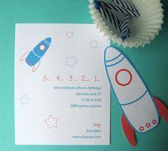 printable rocketship invitations via paper crave
