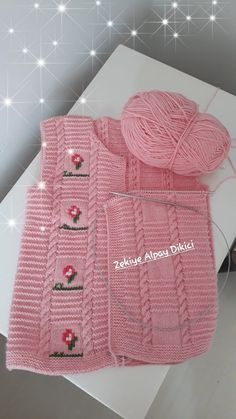 Pink embroidered children's vest construction which is expected to be explained for a long time. Zekiye Alpay Dikici shared the description of the