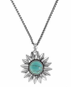 Lucky Brand Necklace, Silver-Tone Turquoise Sunflower Pendant