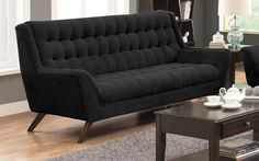 Natalia Black Retro Sofa w/ Flared Arms