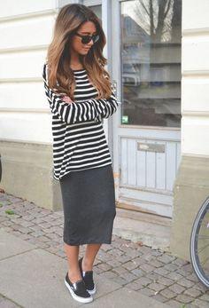 grey midi, a striped shirt and black Vans