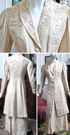 Walking suit ca. 1900-05. Cream wool with lace and soutache in the same color and lined with cream-colored silk satin. All buttonholes hand-sewn. Jacket or coat has fabric-covered buttons and soft, gathered sleeves. Pleated skirt with hook & eye closure. sirikit1010/ebay