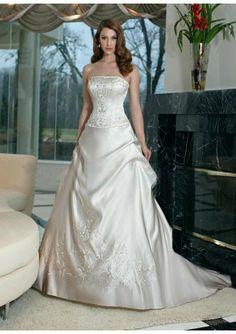 Satin Strapless Straight Neckline A-line Pick-up Skirt With Chapel Train 2012 Wedding Dress WD0137