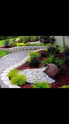 Garden work Front Yard Garden Design, Rock Garden Design, Backyard Garden Landscape, Small Backyard Gardens, Garden Yard Ideas, Garden Landscape Design, Small Garden Design, Back Gardens, Backyard Landscaping