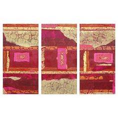 Oriental Furniture Decorative Wall Art Set of 3 - Pink/Light Gold (5 X 20 X 38 ) : Target