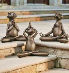 Molded from resin with the look of weathered bronze, our Yoga Frog Garden Statues are delightful for inspiring wide smiles and peaceful, garden moments. A great gift idea for the yogi in your life, too. Dog Garden Statues, Outdoor Statues, Garden Sculpture, Garden Oasis, Garden Spaces, Garden Yard Ideas, Lawn And Garden, Boxwood Garden, Garden Mirrors