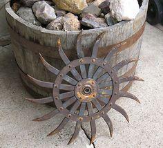 John Deere farm implement cog wheel rustic primitive decor gear industrial age