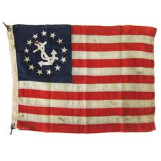 1900's Anchor and Stripes Boat Flag .... do you think my mom would tell me this is disrespectful !?!