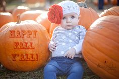 4 month old, outdoor baby session in a pumpkin patch. baby girl. Tallahassee, Florida.