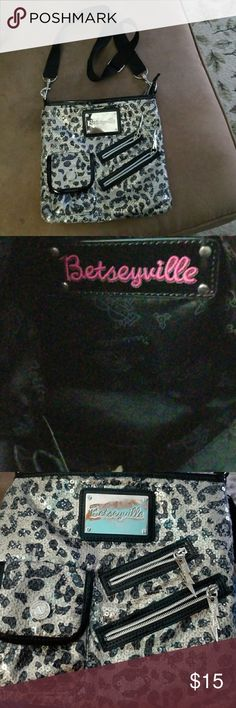 Betseyville crossbody Sequined leopard print, cute size! Betsey Johnson Bags Crossbody Bags